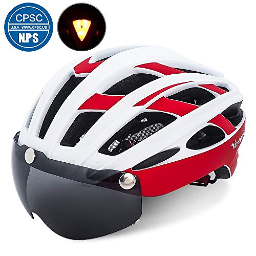 (VICTGOAL Bike Helmet for Men Women with Safety Led Back Light Detachable Magnetic Goggles Visor Mountain & Road Bicycle Helmets Adjustable Adult Cycling Helmets (White Red))