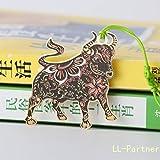 Metal Bookmark Chinese Zodiac,Creative Hollow Mini Cute Bookmarks Template Cattle