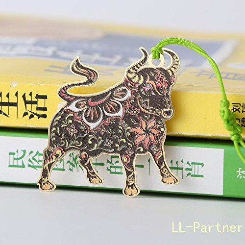 Metal Bookmark Chinese Zodiac,Creative Hollow Mini Cute Bookmarks Template Cattle by LL-Partner