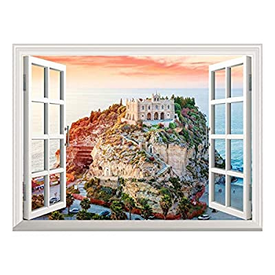 Removable Wall Sticker/Wall Mural - Beautiful Island View Out of The Open Window Creative Wall Decor - 36
