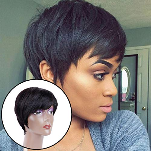 Creamily Human Hair Short Wigs Pixie Cut Brazilian Layered Black Hair #1B Natural None Lace Replacement Wigs with bangs]()