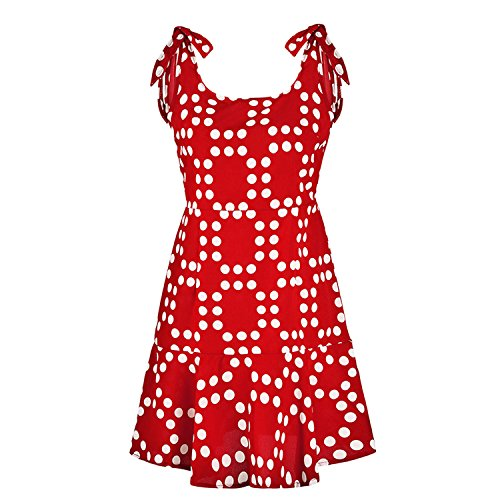 Red Polka Dot Summer Beach Bohemian Mini Short Dresses Sexy Boho Casual Sun Dress Cute Vestido Mujer,Red,L