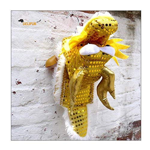 Delifur Cute Dance Dragon Pet Costume with Yellow Sequins New Year Halloween Costume for Small to Large Dogs