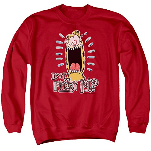 - Garfield Friday Unisex Adult Crewneck Sweatshirt for Men and Women, X-Large Red