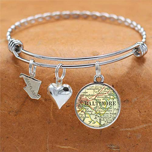Amazon.com: Maryland Map Bracelet Baltimore MD USA States Cities ...