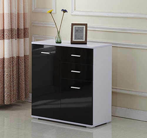 Lovely Homcom Modern High Gloss Side Cabinet Table Sideboard Chest Of Drawer  Bedroom Living Room Storage Furniture (Black, 71x35x76CM): Amazon.co.uk:  Kitchen U0026 ... Part 17