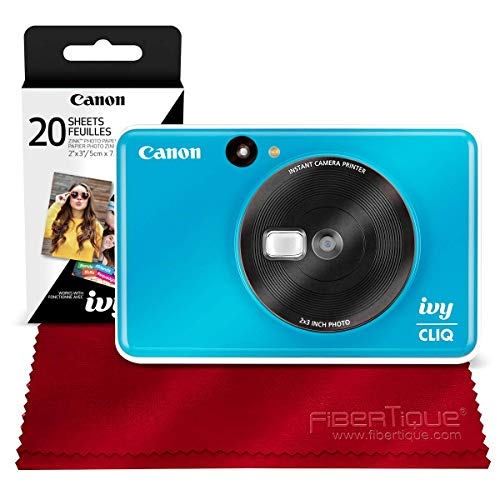 Canon Ivy CLIQ Instant Camera Printer (Seaside Blue) + 30 Sheets Photo Paper + Basic Accessories Bundle (USA Warranty)