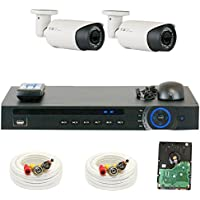 GW Security 4 Channel HD-CVI DVR (2) 2.8-12mm Motorized Zoom 2MP 1080P Weatherproof Sony Cmos Video Security Camera System