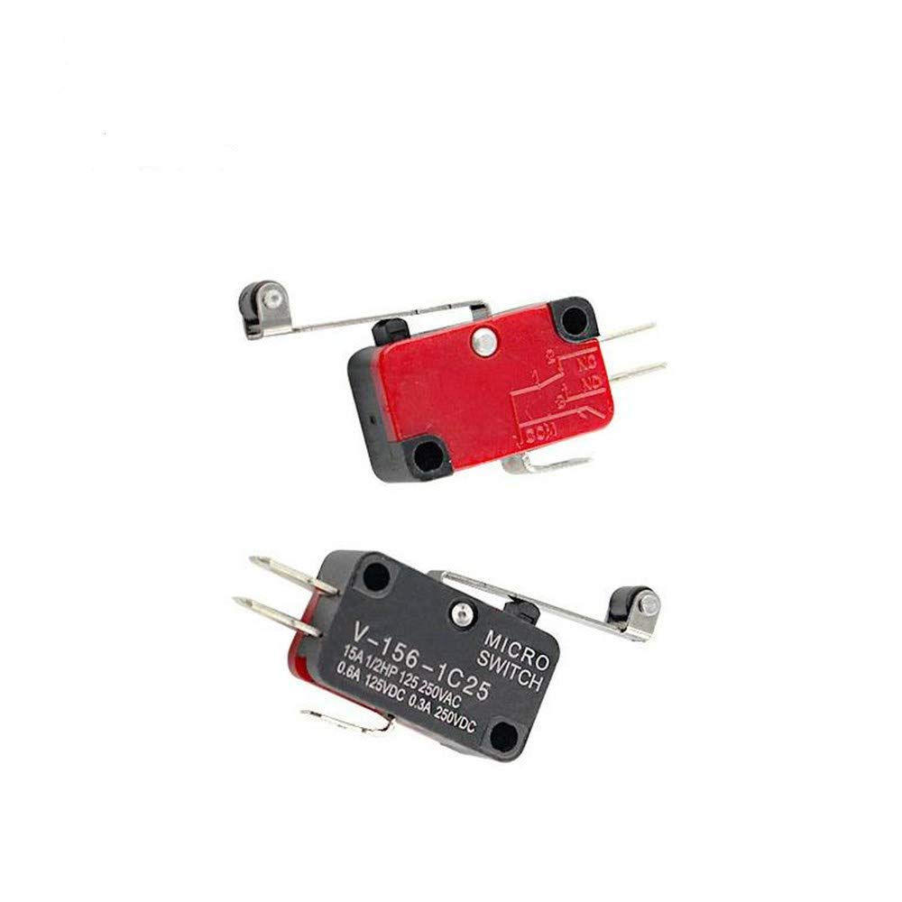 Szliyands AC 250V 15A V-156-1C25 Long Hinge Roller Lever 1NO 1NC Momentary SPDT Snap Action Micro Limit Mini Switch 3 Pins Pack of 25