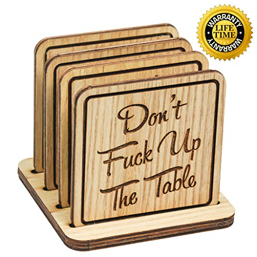 Navady Natural Wood Coasters with Holder Set of 4 (3.9 x 3.9 Inches), Table Wooden Coasters for Drinks, Protect Home Kitchen Tables, Office Desks, Perfect Housewarming Gifts (Funny Quote) ()