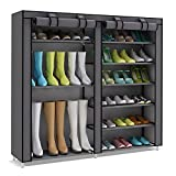 UDEAR Double Row Portable Shoe Tower Rack Storage Cabinet Organizer with Boots Shelf (Grey)