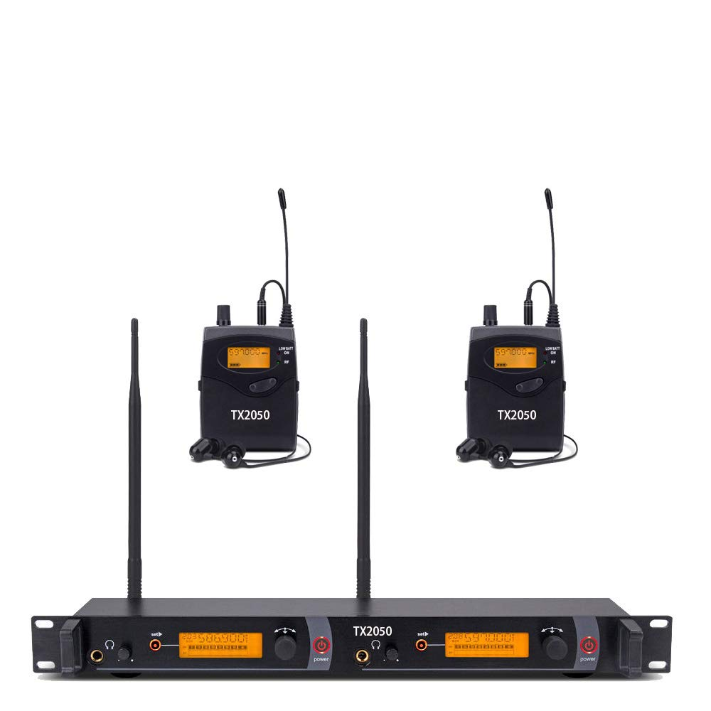 UHF Wireless in Ear Monitor System Pro Audio Professional Monitoring SR2050 Type 2 Channel 100 Frequency with 2 Receivers for Stage & Studio