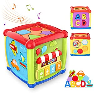 TUMAMA Activity Cube Toys, Baby Early Educational Toys for 18 Months Boys and Girls, Shape Sorter and Piano Musical Toys