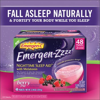 Emergen-Zzzz Nighttime Sleep Aid, Mellow Berry, (2 Pack of 24 Packets)