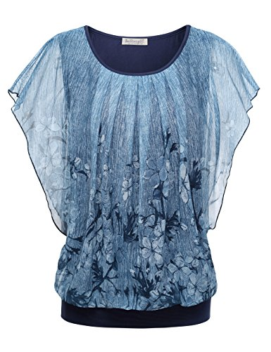 BaiShengGT Women's Printed Flouncing Flared Short Sleeve Mesh Blouse Top Medium Blue #3