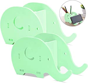 2 Pieces Elephant Shape Desk Pencil Pen Holder, FineGood Wood Plastic Board Stationery Multifunctional Organizer with Cell Phone Stand for Office Adults Kids - Green