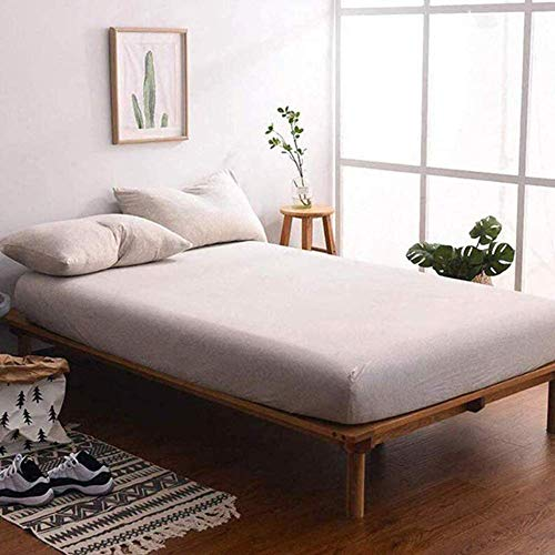 "Price comparison product image Jersey Knit Cotton Fitted Sheet Queen, 15"" Deep Pocket Light Coffee 3 Piece Bedding Sheets Includes 1 Bottom Sheet and 2 Pillowcases"