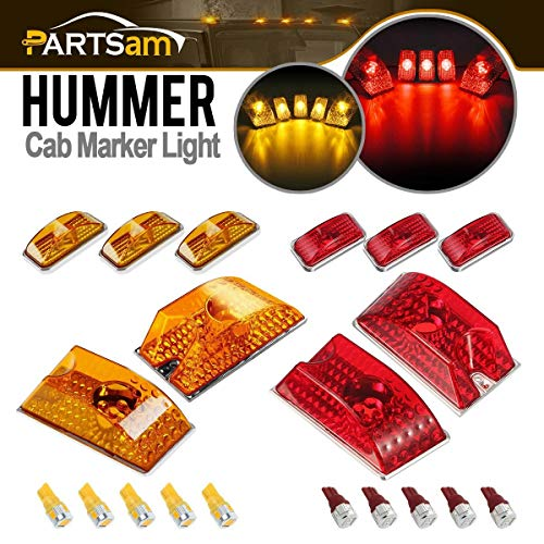 Partsam Whole Assembly Set (5xRed+5xAmber) Lens 264160 Cab Marker Roof Running Crystal Chrome Lights with T10 194 168 W5W 6-5730-SMD LED Bulbs Compatible with Hummer H2 SUV SUT - Set Lens Marker