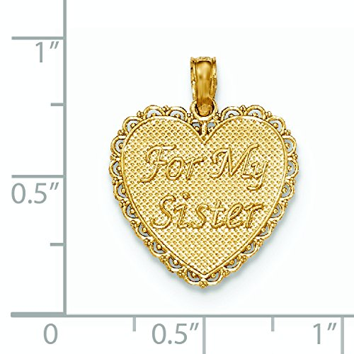Or poli 14 carats pour My Sister We Are Forever Friends Pendentif