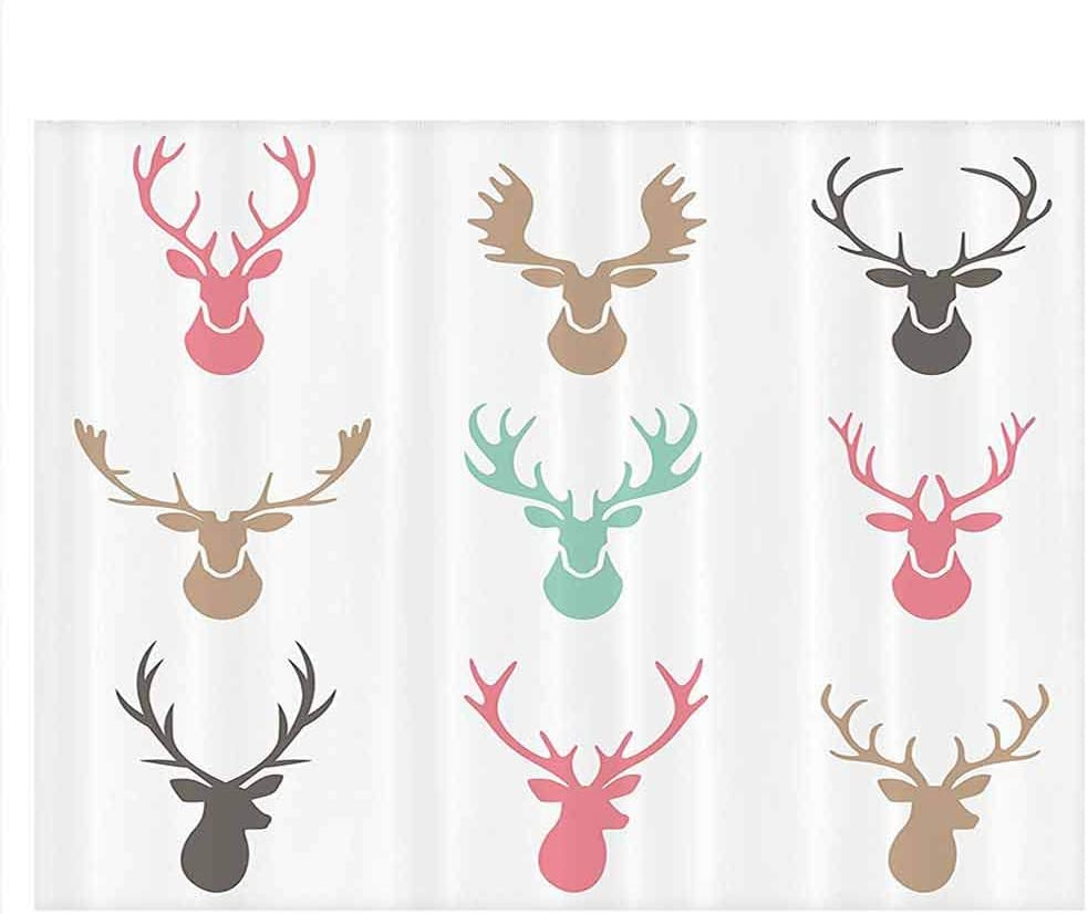 8x12 FT Antlers Vinyl Photography Backdrop,Deer with Colorful Birds and Birdcages Silhouette Ornament Vintage Style Print Background for Party Home Decor Outdoorsy Theme Shoot Props