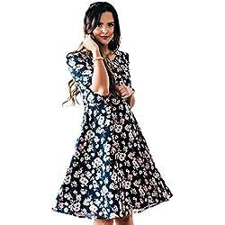 56de368fd5a Mikarose Kaylee Modest Dress In Navy Blue w Floral Print. Amazon.com