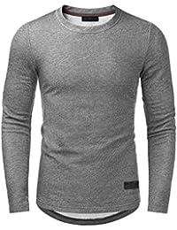 Men's Hipster Hip Hop Long Sleeve Round Hemline Crewneck T-shirt