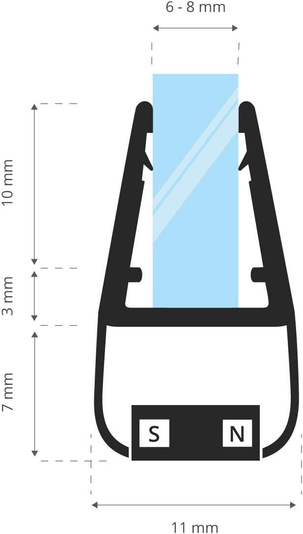 STEIGNER Joint Magn/étique pour les Vitres d/'une /Épaisseur 6 mm 8 mm UKM02 Joint de Remplacement 1 Pi/èce 197 cm 7 mm