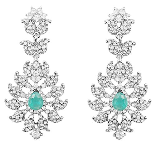 Touchstone Indian Bollywood Rhinestone/faux turquoise designer bridal jewelry earrings for women in silver (Diamond Shaped Turquoise Post Earrings)