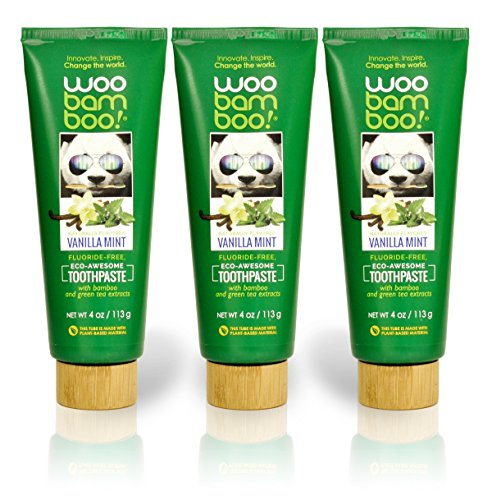 Woobamboo! Naturally Flavored Vanilla Mint Fluoride Free, Eco-Awesome Toothpaste: 4oz 3-Pack