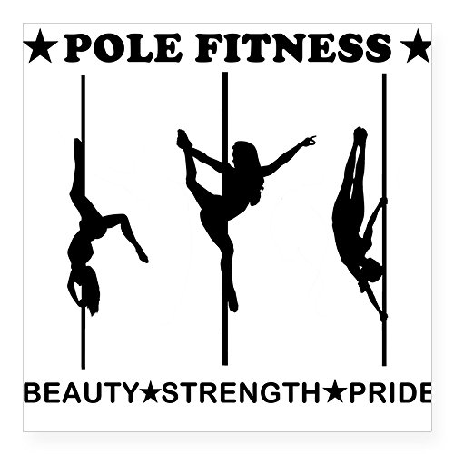 CafePress - Pole Fitness Beauty Strength Pride Black Sticker - Square Bumper Sticker Car Decal, 3