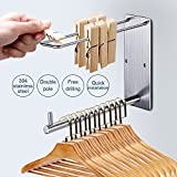 briidea Clothing Multiple Adhesive Hooks, Stainless Steel Garment 3M Hooks Wall Mounte Clothes Hanger Storage Drying Rack for Laundry Room Bathrooms Space Savers