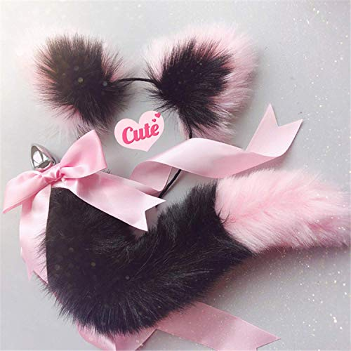 Women Viberate Toys Būtt Play Plug Women Toys Cute Soft Cat Ears Headbands with T-àil Bow Metal Būtt A-nàl Plug Erotic Cosplay Accessories Adult Happy Toys for Couples,White Black,T-Shirt by BJYC (Image #1)