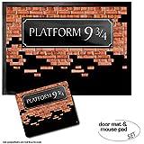 Set: 1 Door Mat Floor Mat (28x20 inches) + 1 Mouse Pad (9x7 inches) - Brick Walls, Platform 9 3/4