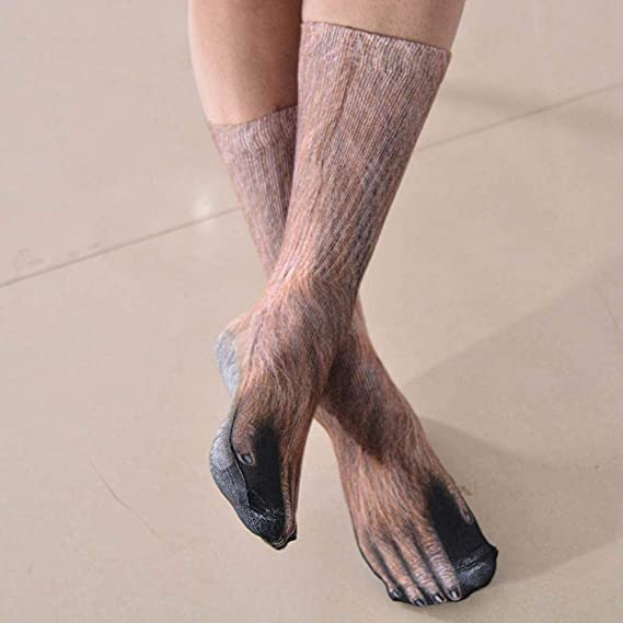 VJGOAL Unisex moda casual Transpirable divertido Animal Paw 3D Imprimir Calcetines Peinado de algodón tejido liso impresión fina Medias calcetines(Un tamaño ...