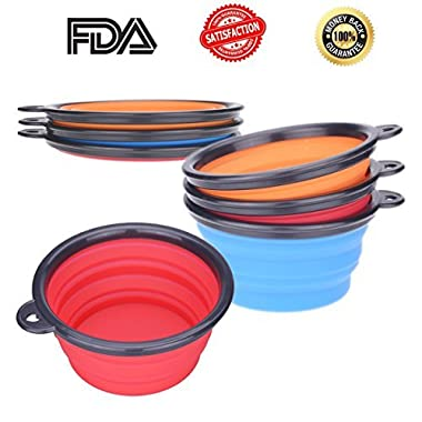 [SPECIAL OFFER TODAY] Ilyever Set of 3 Travel Collapsible Dog Bowl - Premium Pet Travel Bowl for Food & Water Bowls in Bright Colors - 100% Money Back Guarantee