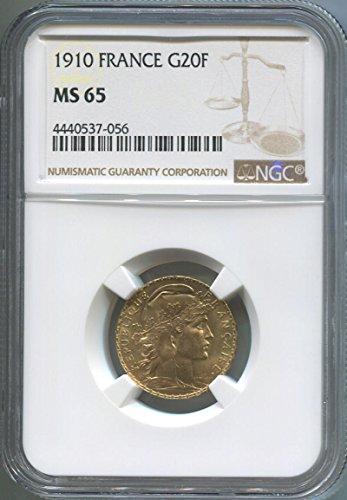 1910 FR Gold 20 Franc MS65 NGC