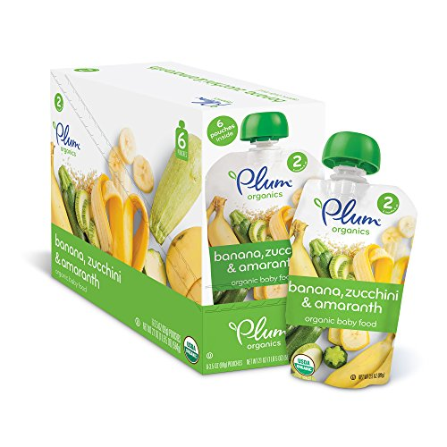 Plum Organics Stage 2, Organic Baby Food, Banana, Zucchini and Amaranth, 3.5 Ounce Pouch (Pack of 12)
