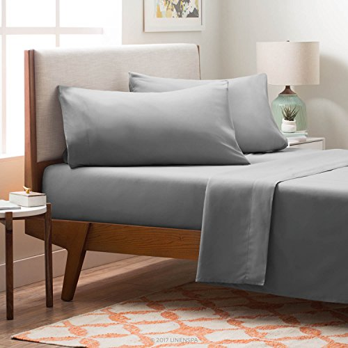 LINENSPA Brushed Microfiber Ultra Soft Bed Sheet Set - Wrinkle Resistant - Queen Size - Stone