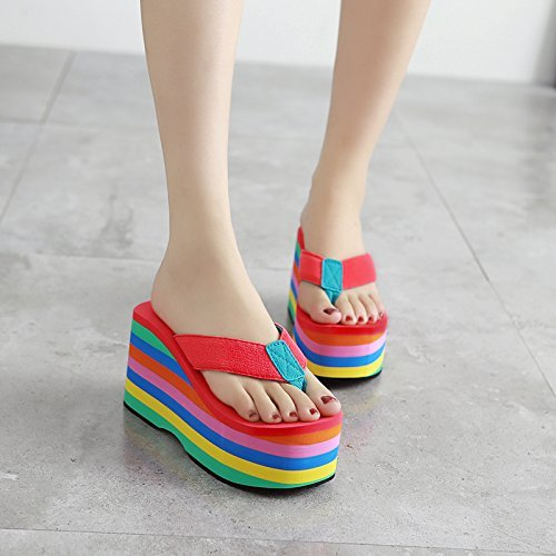 Eu Antideslizantes uk Yingsssq Inferior 5 5 5 B Zapatillas Para Parte 3 Us Chanclas color Playa Mujer Tamaño 35 Blanco Gruesas Red AIqIBTH