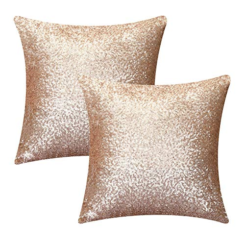 Kithomer Sequins Throw Pillow Cover Solid Glitter Sequins Decorative Square Pillow Case Comfy Satin Solid Cushion Cover for Couch Sofa 16 X 16 Inch,(2 Packs,Champagne Blush)