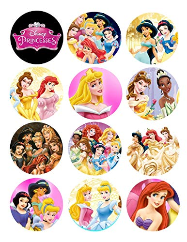 - Disney Princesses Party Favors Supplies Decorations Collectible Metal Pinback Buttons, Large 2.25