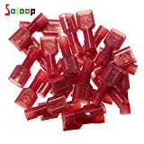 SOLOOP 50pcs Terminal(25Female & 25Male)Fully Insulated Wire Terminals Nylon Spade Connectors Set 22-18awg Nylon Fully-Insulated Quick Disconnects Wiring Spade Wire Crimp Terminal Red