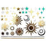 COKOHAPPY Metallic Temporary Tattoo , Sun Moon Star Fake Jewelry Gold Silver