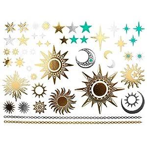 COKOHAPPY Metálico Temporales Tatuaje Sol Luna Estrella Falso ...