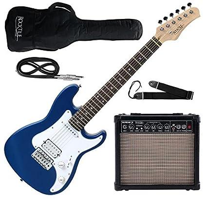 Rocktile Guitarra eléctrica Sphere Junior 3/4 azul (con amplificador, cable y correa