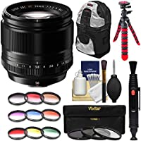 Fujifilm 56mm f/1.2 XF R Lens with 3 UV/CPL/ND8 & Colored Filters + Backpack + Tripod + Kit