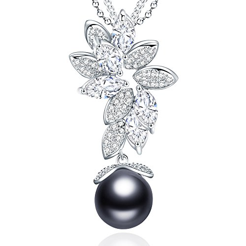 "Amphitrite Single 11mm Gray Black Pearl AAA CZ Pendant Necklace for Women, 17""+2"" Extender -"