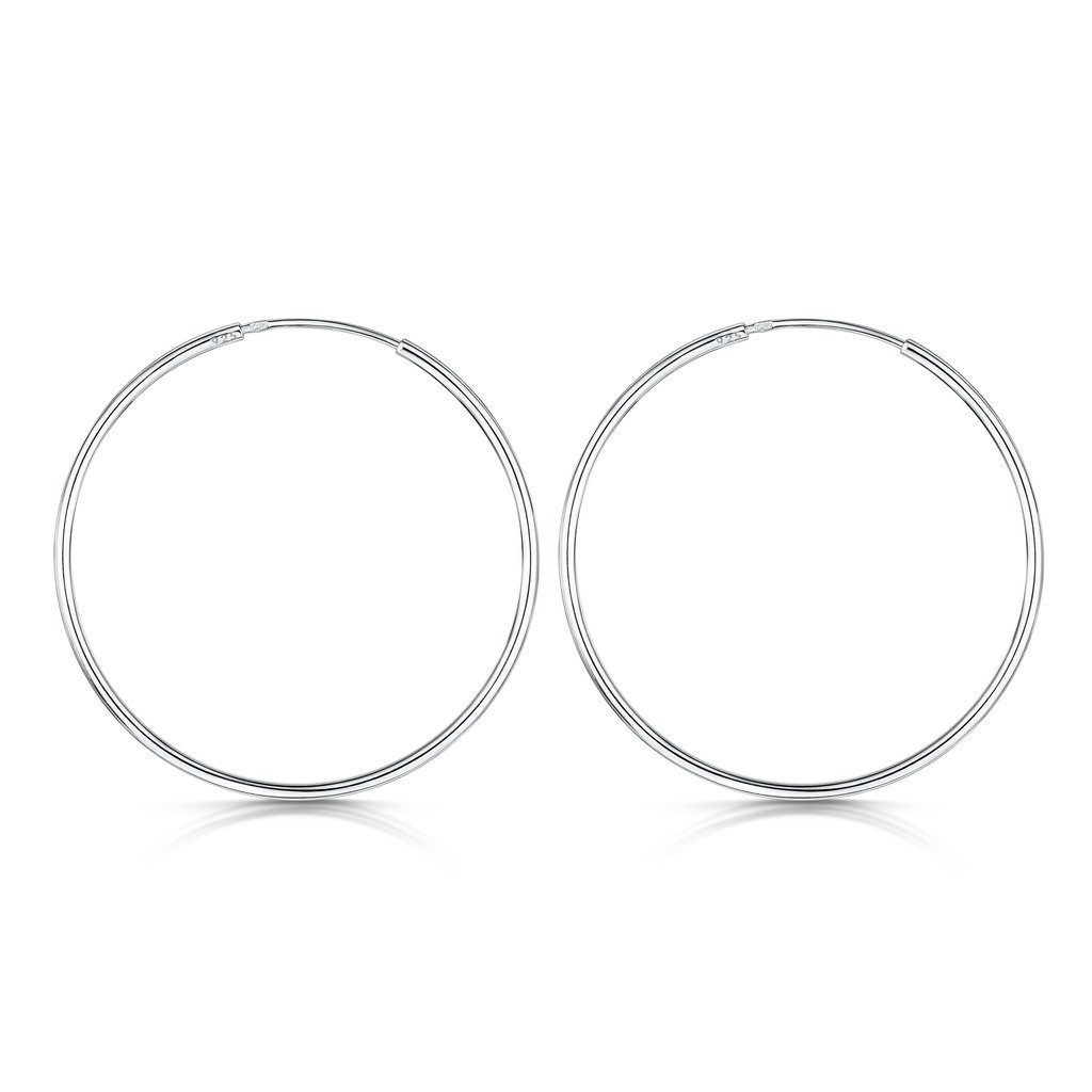 Amberta 925 Sterling Silver Fine Circle Endless Hoops - Polished Round Sleeper Earrings Diameter Size: 20 30 40 60 80 mm (40mm)