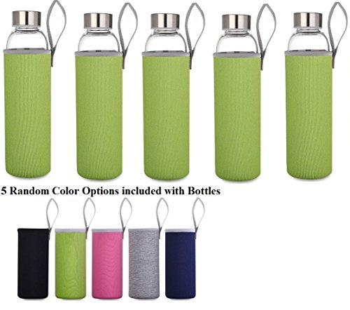 Borosilicate Glass Water Bottles Sport - 5 Pack (18.5oz) - Get Healthy and Drink More - Storage Container - Clean Tasting, 550ml - No Return - Warehouse Deal (Random Sleeves)