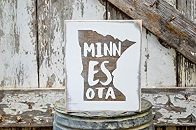 MINI Minnesota Rustic Wood Signs - Whitewash State Signs - Home State Decor - Personalized State Sign 6x7in